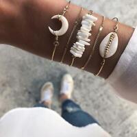 Mode Silber Muschel Armband Sommerurlaub Geflochtene Armreif Frauen Schmuck