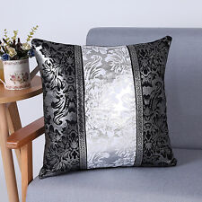 Silver&Black Cotton Linen Pillow Case Sofa Throw Waist Cushion Cover Home Decor