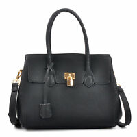 New Kiss Lock Padlock Women Handbag Faux Leather Satchel Tote Shoulder Bag Purse