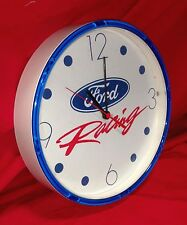 "Ford Racing blue white battery operated 10""  plastic wall clock WORKS"