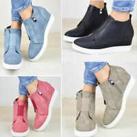 Womens Ankle Boots Zipper Casual Slip On Sneakers Shoes Fashion High Heel Wedge
