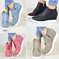 Women Lady Ankle Boots Martin Shoes Zipper Warm Soft Fashion High Heel Wedge US