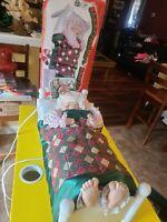 VINTAGE TELCO MOTIONETTES SLEEPING MRS SANTA CLAUS ANIMATED SNORING CHRISTMAS