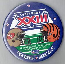 "Vintage 1989 Super Bowl XXIII 23 Bengals 49ers 3"" Pin Button"