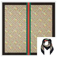 NWT~GUCCI~GG Supreme Logo OS Web Floral Blooms Print Silk Scarf, w/Gift Receipt