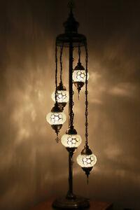 Beautiful Pure White 5 Globes Turkish Moroccan Handmade Glass Floor Lamp