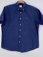 LE TIGRE Men's XL Shirt Short Sleeve Blue Navy Blue Logo 100% Cotton Excellent