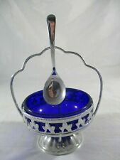 Blue Glass Silver Plated Sugar Cuber Container plus matching spoon. Art Deco.