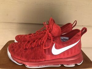 Nike Air Zoom KD Durant 9 Varsity Red/White Sneakers (843392-611) Men's Size 13