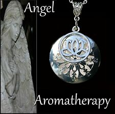 Essential Oil Diffuser Silver Lotus Necklace Locket Aromatherapy U.S. Seller