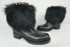 Valentino Winter Leather & Fox Fur Rockstud Black Ankle Boots Size 36