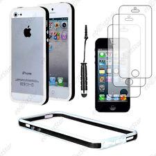 Housse Coque Etui Bumper Noir / Blanc Apple iPhone SE 5S 5+Mini Stylet+3 Films