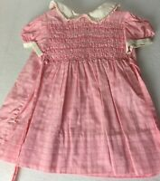 Vintage Polly Flinders Dress Size 2 Smocked  Pink White Plaid Girls Toddler Lace