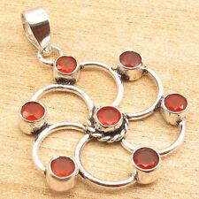 "Genuine CARNELIAN 7 Stone CHAKRA Pendant 1.7"" ! Silver Plated Jewellery"