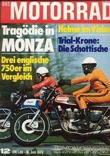 M7312 + TRIUMPHs im Vergleich : Trident + Bonneville + Tiger + MOTORRAD 12/1973