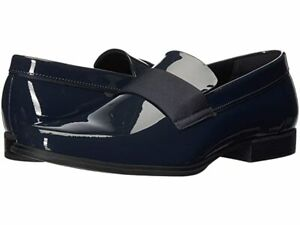 Calvin Klein Men Slip On Loafers Demetrius Size US 10.5 Dark Navy Patent Leather