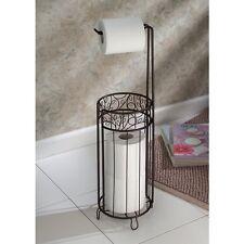 Storage Toilet Paper Holder Rolls Metal Stand Vintage Decor Bathroom Bronze