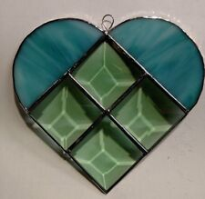 Green  Beveled and Aqua Stained Glass  Heart Suncatcher
