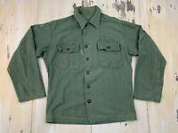 US ARMY - Vtg 50s-60s OG-107 Green Military Field Shirt Jacket, Mens MEDIUM