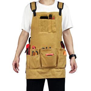 16oz waxed Canvas Bib Apron Woodworking Gardening Craft Adjustable Tool Belt