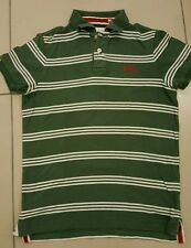 MENS SUPERDRY POLO T SHIRT, DARK GREEN WITH WHITE STRIPES, SIZE MEDIUM