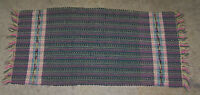 "Vintage Hand Woven Rag Rug #2A - About 17"" X 34"" Multi Colored Dark Background"