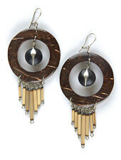 Coconut Shell Earrings with Bamboo Drops & Seeds Handmade in Peru Fair Trade