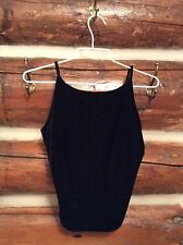 Vintage AZIZ Black Velvet Crop Top EUC Tank Festival Hippie USA Made S Small