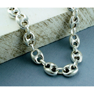 """New Sterling Silver 925 Marine Style 18"""" Chain Necklace 4.6 x 3.45 mm & Clasp"""