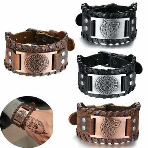 Mens Viking Wide Genuine Leather Vegvisir/Mjolnir/Dragon/Wolf Bracelet Wristband