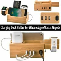 Bamboo Wood Charging Dock Station Holder For iPhone X 8 & Watch & Airpods