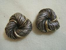 Sterling Silver N.S.Bar-on Large Electroform Twist  Clip Earrings