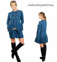 Boho Hippy Bohemian Teal Blue Wool Knit Bell Sleeve Tunic Sweater Dress S M L XL
