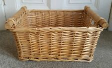 LARGE WICKER LOG BASKET WITH WOODEN HANDLES