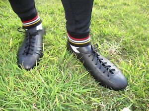 Leather cycling shoes vintage classic eroica retro style black UK5-14
