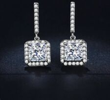 White Gold Plated Silver Square Cubic Zirconia Diamanté Small Drop Stud Earrings