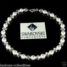White Pearl made with Swarovski Crystal Bridal Beach Sterling Silver Anklet Xmas