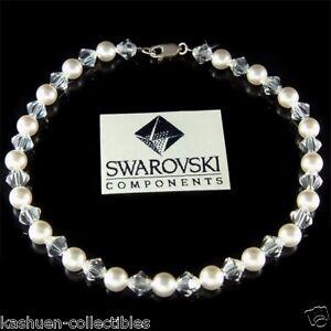White Pearl made with Swarovski Crystal Bridal Beach Sterling Silver Anklet Xmas