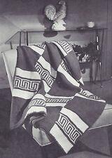 Vintage Knitting PATTERN to make Knitted Afghan/Throw Greek Key Design