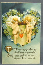 Antique Postcard Valentines Day Cupid Messengers Delivering a Fond Heart