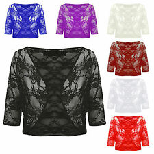 Ladies Women's Floral Lace 3/4 Sleeve Crop Cardigan Bolero Shrug Plus Size 8-22