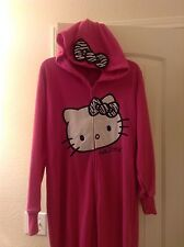 Super cute HELLO KITTY Hooded Footie Footed Pajamas 1 PC M or L NWT HTF