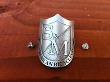S&M BIKES METAL SHIELD HEADTUBE BADGE HEAD TUBE SILVER FIT BMX BTM S AND M BIKE