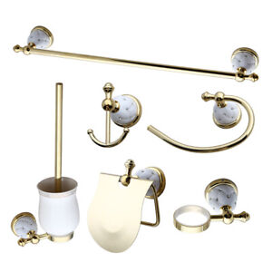 Bathroom Accessories Set Towel Ring Towel Rack Paper Holder  Hook Up Gold Brass