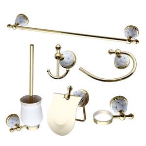 Bathroom Accessories Set Towel Ring Towel Rack Paper Holder  Hook Up Gold Brass