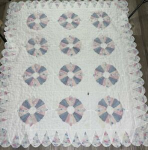 "Vintage Dresden Plate Scallop Edge Cutter Crib Quilt Hand Sewn 55""x48"" Pink Blue"