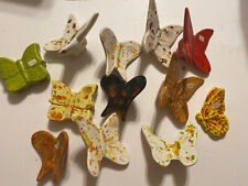 Lot Of 12 Medium Size Vintage Ceramic Macrame Butterfly Beads