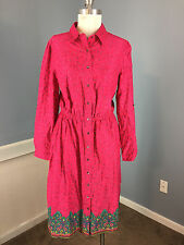 eShakti L 12 Pink Print Shirt Dress Career Casual Excellent roll tabs paisley