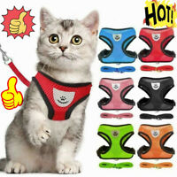 Breathable Pet Harness Vest Leash Set Dog Cat Soft Strap Puppy Mesh Bling Straps