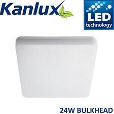Kanlux Square Flush Mount Bulkhead LED Ceiling Light Waterproof 24W Warm White